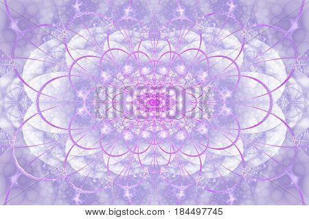 Abstract Intricate Lacy Ornament In Pink And Blue Colors. Fantasy Fractal Background. Digital Art. 3