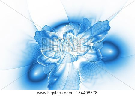 Abstract Exotic Flower With Textured Petals On White Background. Fantasy Fractal Design In Blue Colo
