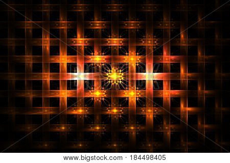 Abstract Geometric Ornament With Glowing Lines On Black Background. Fantasy Fractal Design In Orange