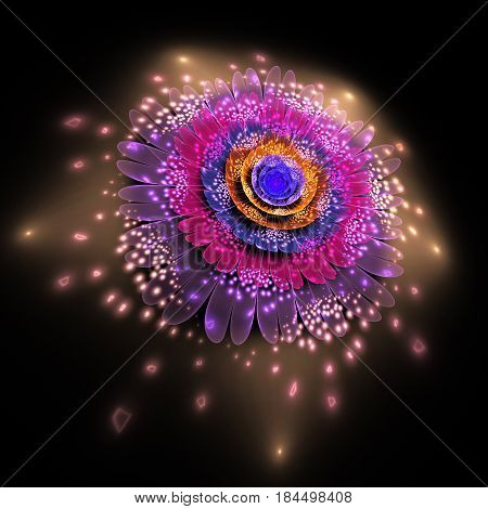 Abstract Exotic Flower With Glowing Sparkles On Black Background. Fantasy Fractal Design In Orange,