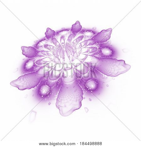 Abstract Exotic Flower With Textured Petals On White Background. Fantasy Fractal Design In Purple Co