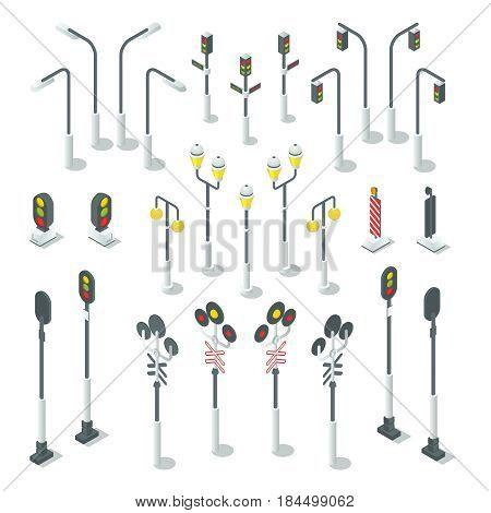 Isometric traffic light, street lamps. Traffic light and lamppost design for map. Urban vector illustration