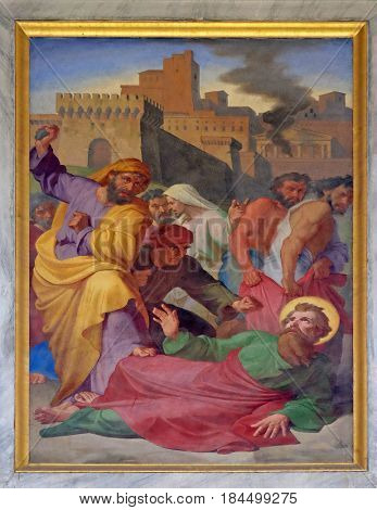 ROME, ITALY - SEPTEMBER 05: The fresco with the image of the life of St. Paul: Paul is Stoned in Lystra, basilica of Saint Paul Outside the Walls, Rome, Italy on September 05, 2016.