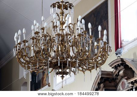 DUBROVNIK, CROATIA - NOVEMBER 08: Chandelier in the Franciscan church in Dubrovnik, November 08, 2016.