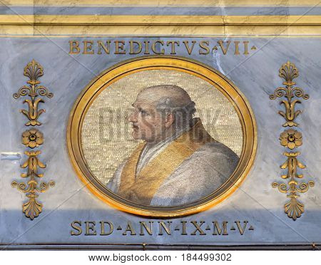 ROME, ITALY - SEPTEMBER 05: Pope Benedict VII was Pope from October 974 to his death in 983 in the basilica of Saint Paul Outside the Walls, Rome, Italy on September 05, 2016.
