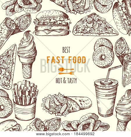 Hand drawn fast food background illustration. Vector banner fast food with burger and beverage, poster menu fast food