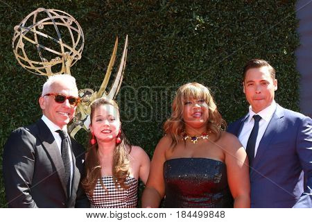 LOS ANGELES - APR 30:  Geoffrey Zakarian, Marcela Valladolid, Sunny Anderson, Jeff Mauro at the 44th Daytime Emmy Awards - Arrivals at the Pasadena Civic Auditorium on April 30, 2017 in Pasadena, CA