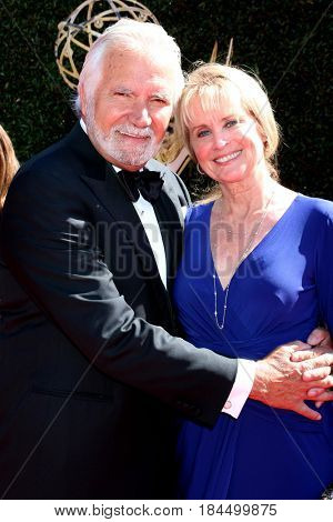 LOS ANGELES - APR 30:  John McCook, Laurette Sprang McCook at the 44th Daytime Emmy Awards - Arrivals at the Pasadena Civic Auditorium on April 30, 2017 in Pasadena, CA