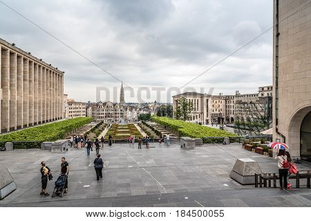 Brussels Belgium - July 30 2016: Mont des Arts Garden in Brussels and cityscape of the city centre a cloudy day