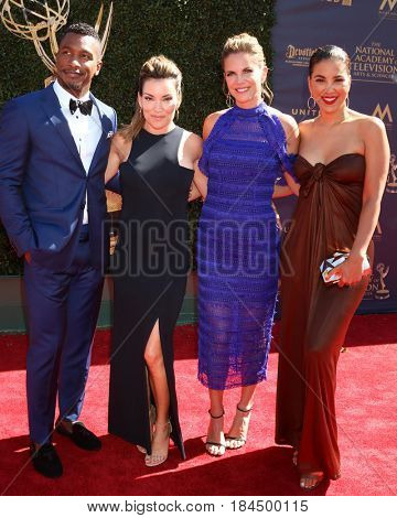 LOS ANGELES - APR 30:   Kit Hoover, Natalie Morales, Unidentifed team member at the 44th Daytime Emmy Awards - Arrivals at the Pasadena Civic Auditorium on April 30, 2017 in Pasadena, CA