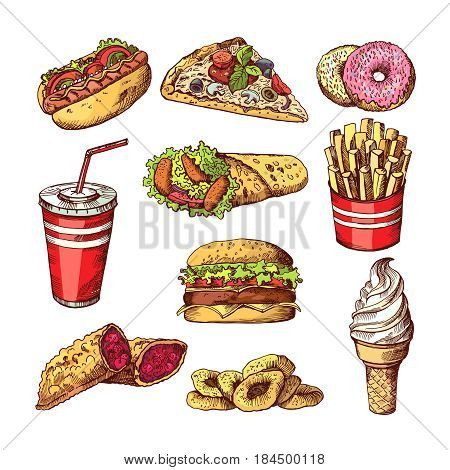 Fast food pictures. Burgers, cola sandwich hotdog and french fries. Hand drawn color vector illustrations. Burger fast food, sandwich and pizza fastfood