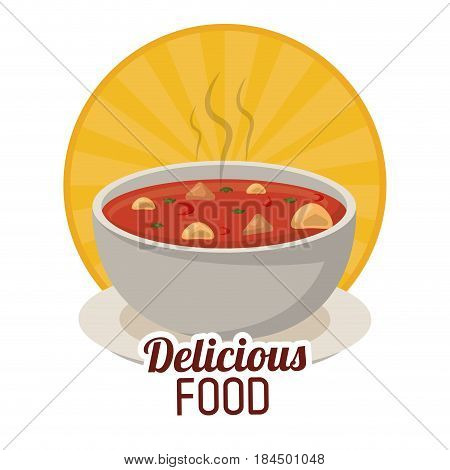 delicious food bowl soup herbs ingredients sticker vector illustration
