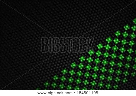 Green And Black Carbon Fiber Background.