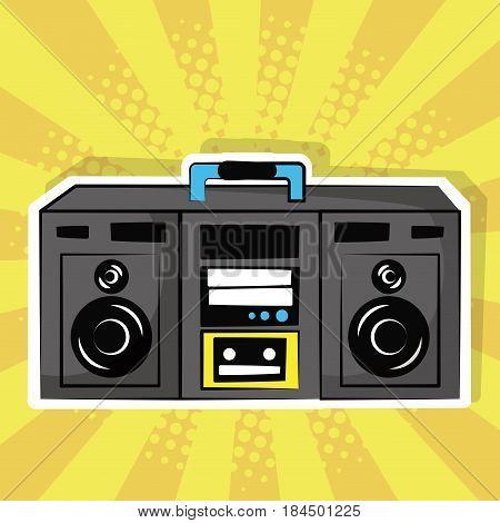 stereo radio music pop art vintage vector illustration