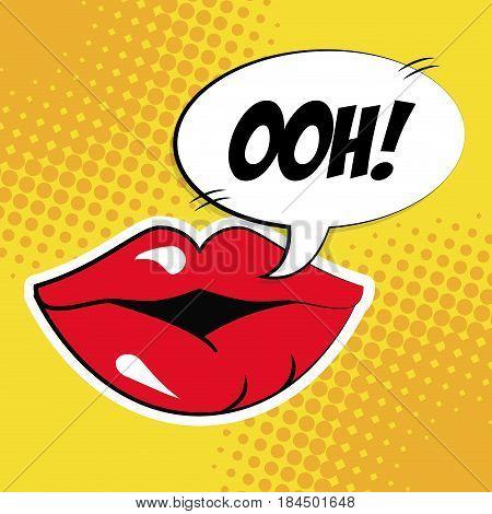 sexy female lips bubble speech pop art vector illustration