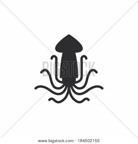 Squid calamari icon vector filled flat sign solid pictogram isolated on white. Symbol logo illustration. Pixel perfect