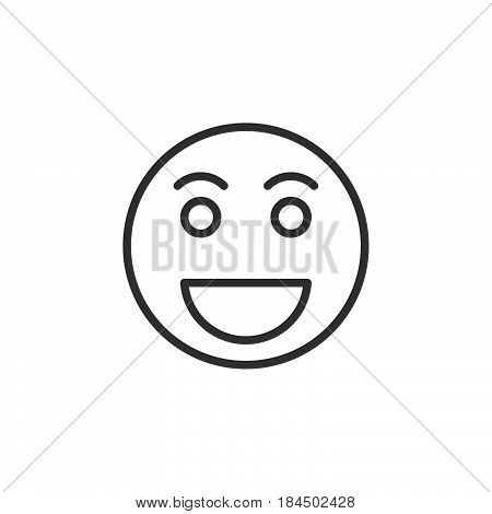 Grinning face Happy smile emoji line icon outline vector sign linear style pictogram isolated on white. Symbol logo illustration. Editable stroke. Pixel perfect