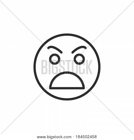 Grimacing angry face line icon outline vector sign linear style pictogram isolated on white. Awkward symbol logo illustration. Editable stroke. Pixel perfect