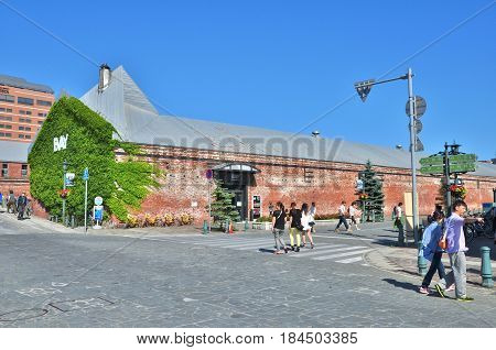 Hakodate, Japan - July 21, 2013: Kanemori Red Brick Warehouses at Hakodate, Japan. The brick warehouses built in 1909 were totally renovated, contain about 50 restaurants and souvenir stores.