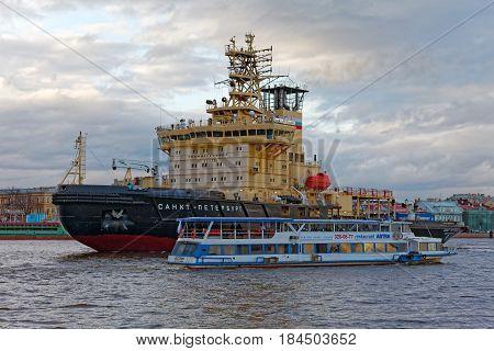 SAINT-PETERSBURG, RUSSIA - 30 APRIL2017: Icebreakers festival in St. Petersburg, Russia. Icebreaker SAINT-PETERSBURG.