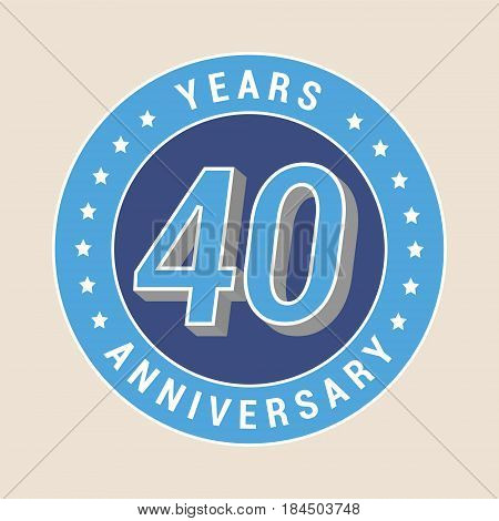 40 years anniversary vector icon emblem. Design element with blue color medal as a banner for 40th anniversary