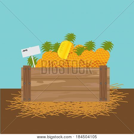 pineapple in a wooden crate illustration.