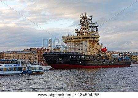 SAINT-PETERSBURG, RUSSIA - 30 APRIL2017: Icebreakers festival in St. Petersburg, Russia. Icebreaker SAINT-PETERSBURG