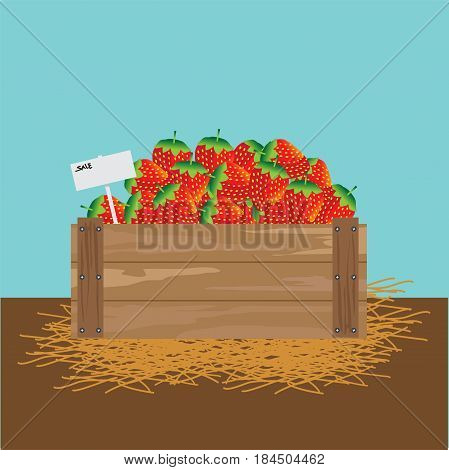 strawberries in a wooden crate illustration