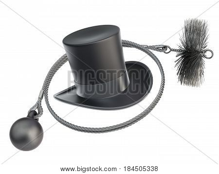 Chimney sweeper cleaning equipment isolated on white background - 3d illustration