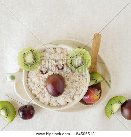 Koala bear oatmeal porridge breakfast fun food art for kids
