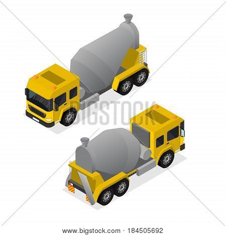 Concrete Mixer Isometric View Equipment for Construction Industry, Cement Transportation Isolated on a White Background . Vector illustration