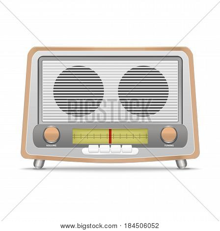 Cartoon Wooden Retro Radio Isolated on a White Background Broadcast Equipment Classic. Vector illustration
