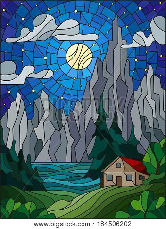 Illustration in stained glass style with a lonely house on a background of pine forests lake mountains and starry sky with a moon and clouds