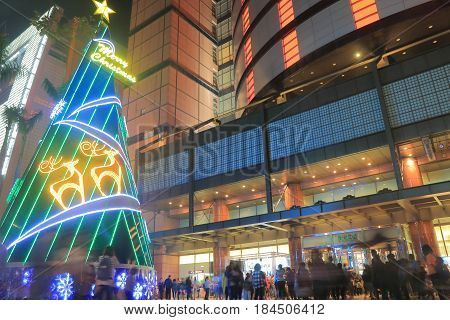 TAICHUNG TAIWAN - DECEMBER 10, 2016: Unidentified people visit Mitsukoshi department store. Mitsukoshi is a department store chain originally founded in 1673 by Echigoya selling kimono in Japan.