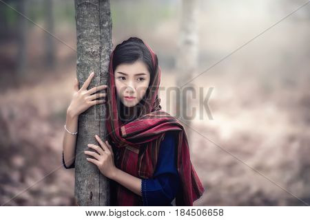 Beautiful Asian Girl In Laos Traditional Costume Identity Culture Of Laos Agriculture Organic Small
