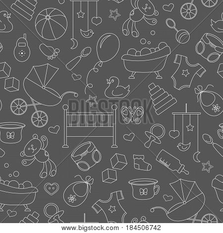 Seamless pattern on the theme of childhood and newborn babies baby accessories and toys simple contour icons white contour on black background