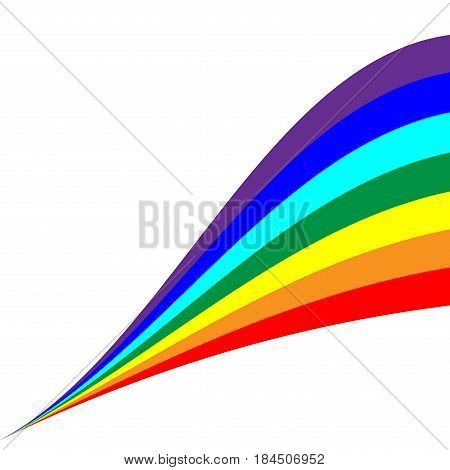 Rainbow diagonal sign. Colorfur ribbon symbol. Multicolor icon isolated on white background. Spectrum flat mark. Spring or summer love concept. Modern art scoreboard. Stock vector illustration