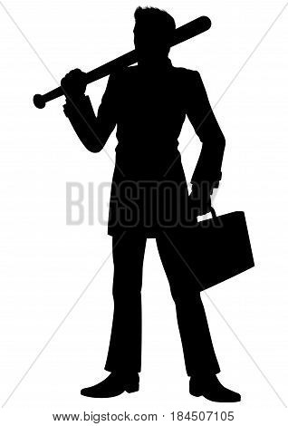 Illustration a man dressed in a costume. He holds a baseball bat and a briefcase