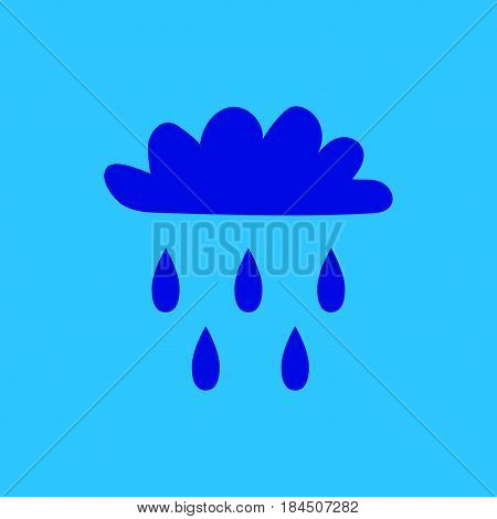 Cloud with rain sign. Plane icon isolated on blue background. Color weather logo. Raininess symbol. Rainy flat silhouette. Weather mark. Stock vector illustration