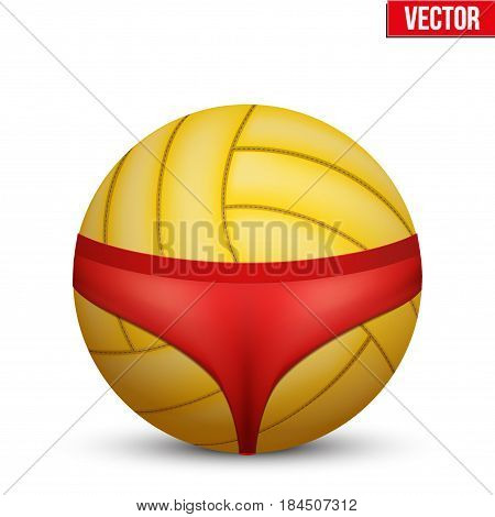 Beach Volleyball symbol. Women's swimsuit on volleyball ball. Vector Illustration Isolated on white background.