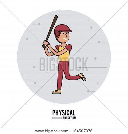 physical education - boy baseball equipment design vector illustration
