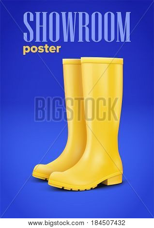 Pair of yellow rubber rain boots on blue background. Advertising poster in trendy color. For any design. Vector Illustration.