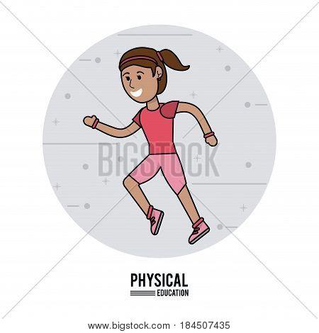physical education - girl running sport design vector illustration