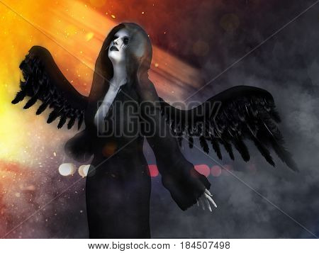 An angel of death with its black wings spread 3D rendering. Lights and smoke in the background.