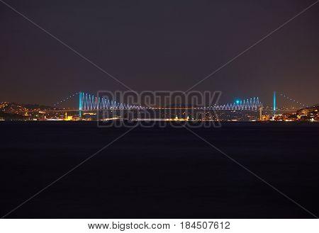 The Night View Of The Bosphorus With The Bosphorus Bridge. Istanbul