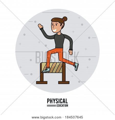 physical education - girl sport hurdle racing athletic vector illustration