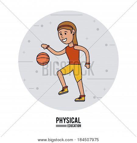 physical education - girl playing basketball sport design vector illustration