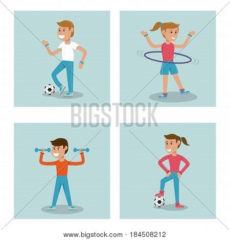set kids practicing sport physical education school vector illustration