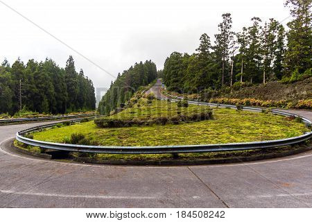 Scenic road on island Sao Miguel, the Azores, Portugal
