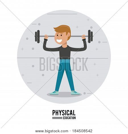 physical education - boy weight lifting gym sport vector illustration